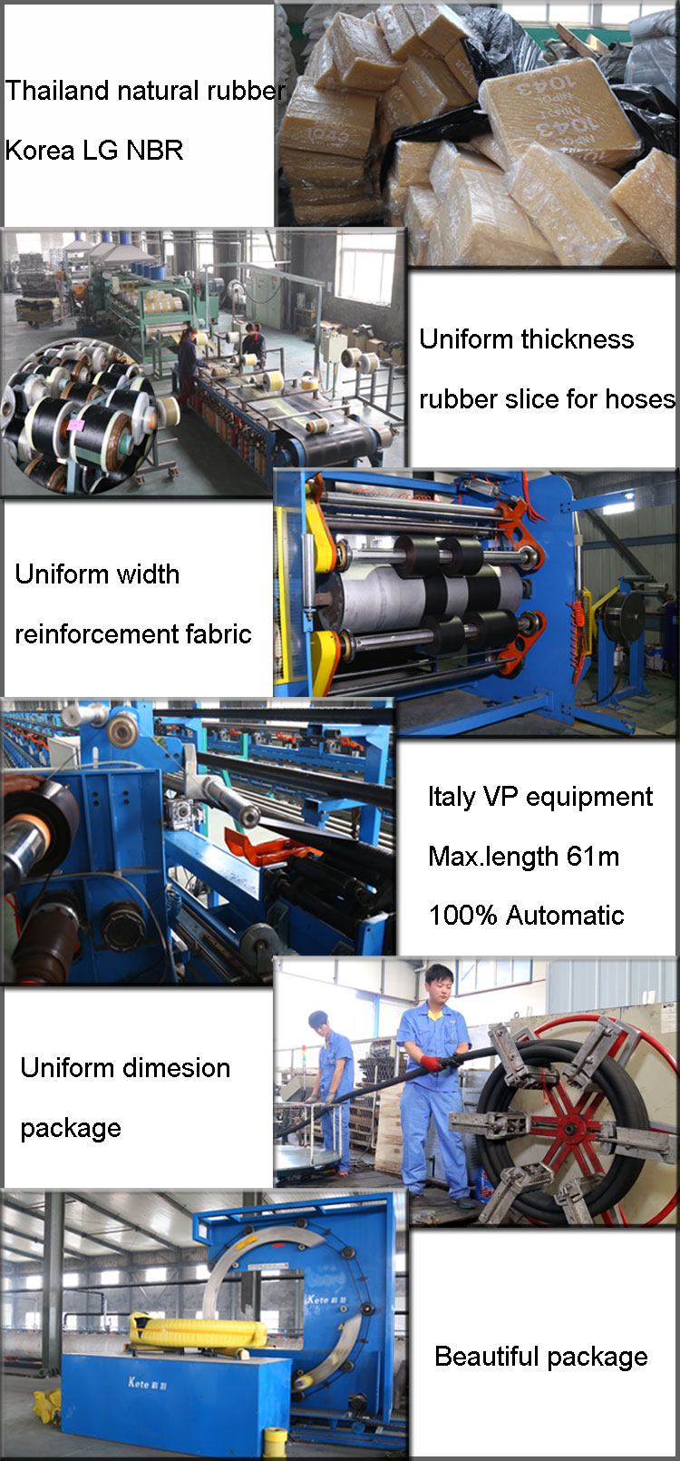 Water suction and discharge hose production